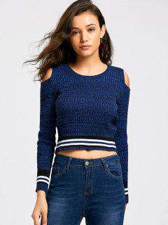 Striped Cold Shoulder Cropped Sweater - Blue M