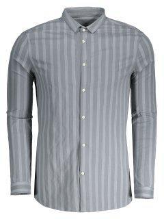 Männer Hemd Mit Knopf Und Streifen - Grau Xl