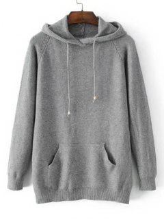 Hooded Raglan Sleeve Sweater With Pockets - Gray