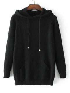 Hooded Raglan Sleeve Sweater With Pockets - Black