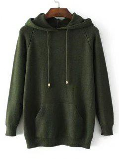 Hooded Raglan Sleeve Sweater With Pockets - Army Green