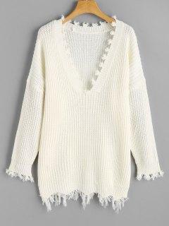 Frayed Oversized V Neck Sweater - White