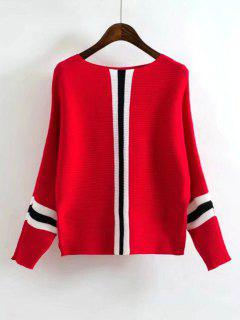 Batwing Contrasting Striped Sweater - Red