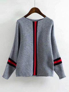 Batwing Contrasting Striped Sweater - Gray