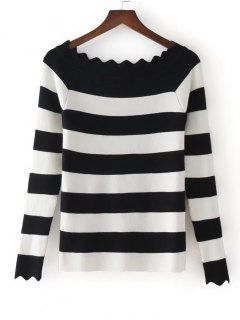 Stripes Scalloped Off Shoulder Knitwear - Black