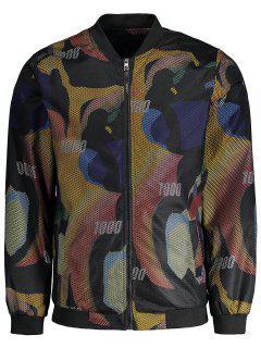 Graphic Print Fishnet Jacket - Floral 4xl
