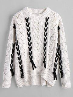 Sheer Oversized Lace Up Sweater - White S