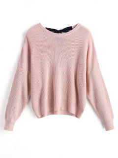 Drop Shoulder Bow Tied Oversized Sweater - Pink L