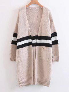 Open Front Contrasting Stripes Cardigan - Apricot
