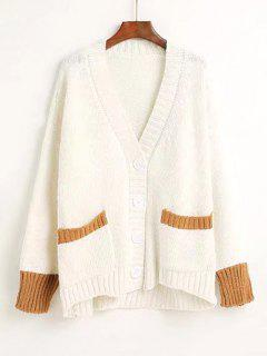 Button Up Two Tone V Neck Cardigan - White