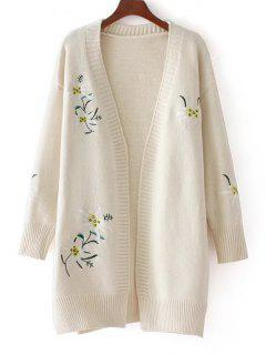 Loose Floral Embroidered Open Front Cardigan - White