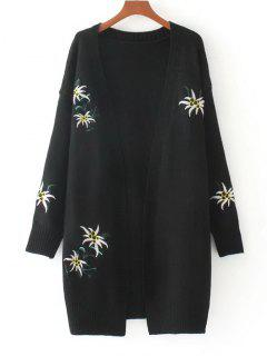 Loose Floral Embroidered Open Front Cardigan - Black