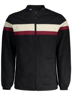 Wide Stripe Zip Up Jacket - Black 4xl