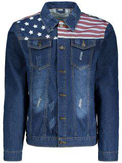 Stripes And Stars Print Ripped Denim Jacket - Deep Blue 3xl