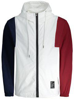 Letter Patched Color Block Windbreaker Jacket - White 3xl