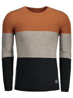 Baumwoll-Farbblock-Pullover - Orange 2xl