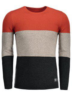 Cotton Color Block Sweater - Jacinth 2xl