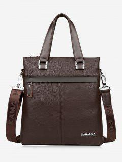 Business Faux Leather Handbag - Brown