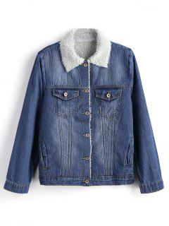 Fur Collar Button Up Denim Jacket - Denim Blue L