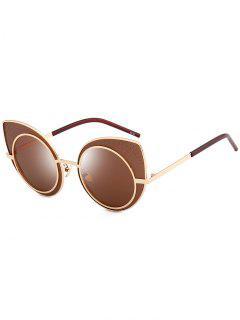 Anti UV Rhinestone Embellished Cat Eye Sunglasses - Tea-colored