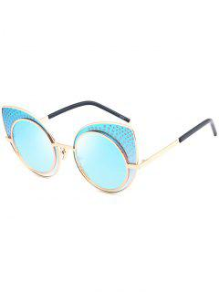 Anti UV Rhinestone Embellished Cat Eye Sunglasses - Windsor Blue