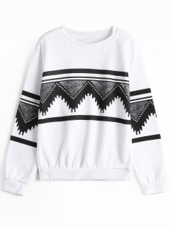 Crew Neck Geometric Graphic Sweatshirt - White L