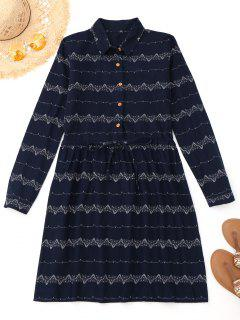 Printed Drawstring Long Sleeve Dress - Purplish Blue M
