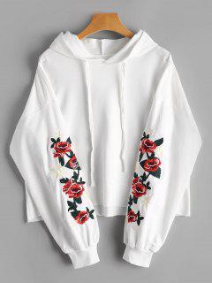 Floral Star Embroidered Patch Drawstring Hoodie - White