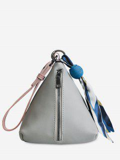 Scarf Triangle Bead Tote Bag - Light Gray