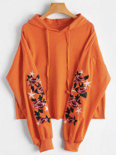 Floral Star Embroidered Patch Drawstring Hoodie - Orange