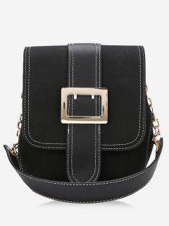 Buckle Strap Stitching Shoulder Bag - Black