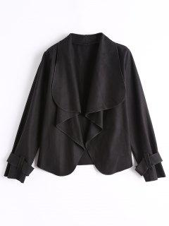 Belted Sleeve Open Front Jacket - Black S