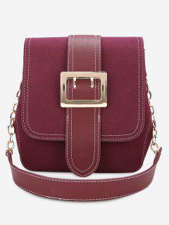 Buckle Strap Stitching Shoulder Bag - Purplish Red