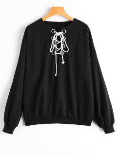 Drop Shoulder Plain Lace Up Sweatshirt - Black