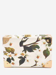 Flower Metal Corner Print Crossbody Bag - White