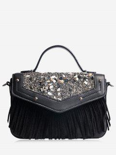 Fringe Stone Pattern Rivet Corssbody Bag - Black