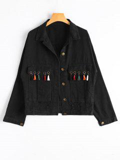Tassels Embellished Pockets Ripped Denim Jacket - Black S