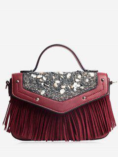 Fringe Stone Pattern Rivet Corssbody Bag - Wine Red