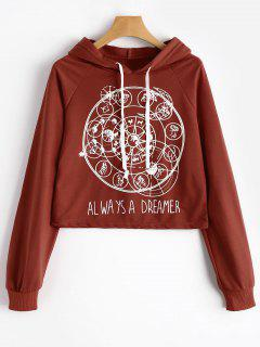 Raglan Sleeve Graphic Drawstring Hoodie - Red S