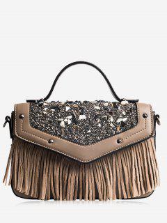 Fringe Stone Pattern Rivet Corssbody Bag - Brown
