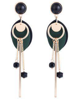 Faux Black Onyx Embellished  Leaf Pendant Drop Earring - Dark Green