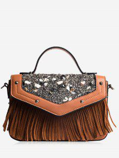 Fringe Stone Pattern Rivet Corssbody Bag - Khaki