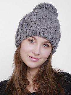 Plain Chunky Cable Knit Pom Hat - Gray
