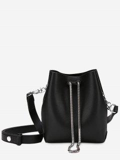 Faux Leather Chain Crossbody Set - Black