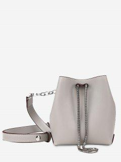 Faux Leather Chain Crossbody Set - Gray