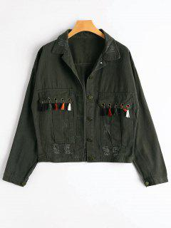 Tassels Embellished Pockets Ripped Denim Jacket - Army Green S