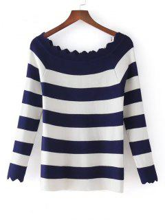Stripes Scalloped Off Shoulder Knitwear - Purplish Blue