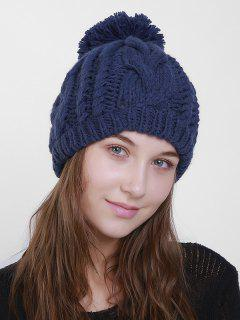 Plain Chunky Cable Knit Pom Hat - Cerulean