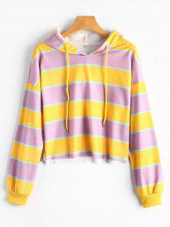 Contrast Striped Drawstring Hoodie - Yellow + Purple M