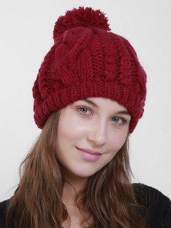 Plain Chunky Cable Knit Pom Hat - Deep Red